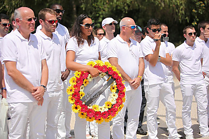 ספורטאי המשלחת הישראלית ללונדון בטקס לזכר חללי מינכן, החודש (צילום: טל שחר)