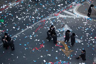 הפגנת חרדים נגד גיוס בירושלים (צילום: AP)