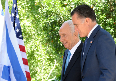 """רומני בבית הנשיא. בדרך לבית הלבן? (צילום: משה מילנר, לע""""מ)"""