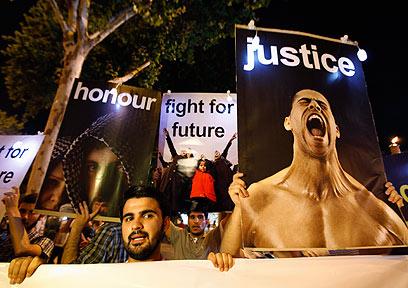 הפגנה נגד משטר אסד באיסטנבול (צילום: רוטירס)
