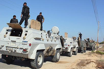 כוחות ביטחון מצרים, הבוקר בצפון סיני (צילום: AFP)