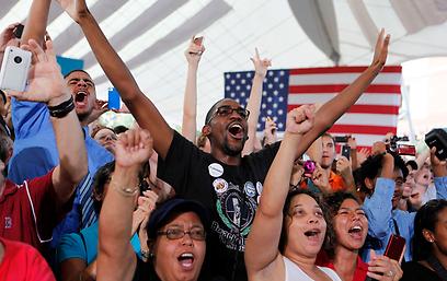 תומכי אובמה בווירג'יניה (צילום: רויטרס)