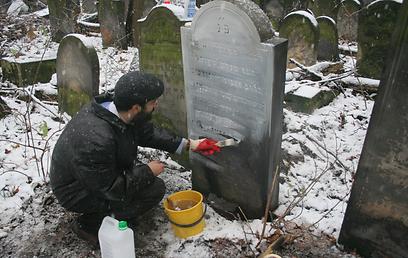 משפץ קברים בפולין  (צילום: מאיר אלפסי)