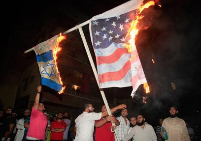 הפגנה בלבנון נגד הסרט (צילום: AP)