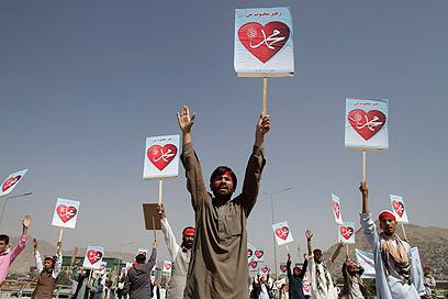 מפגינים נגד הסרט הלועג למוחמד באפגניסטן (צילום: AP)
