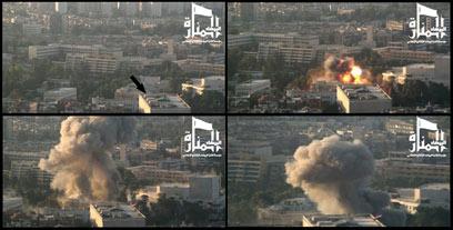 הפיגוע בבסיס בדמשק אתמול (צילום: AFP)