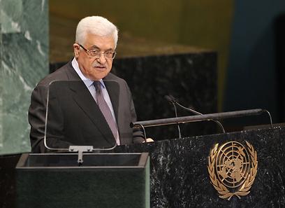 """נאום תקיף בעצרת האו""""ם. אבו מאזן, הערב (צילום: AFP)"""