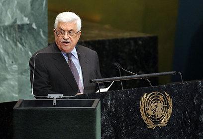 """אבו מאזן על במת עצרת האו""""ם (צילום: AFP)"""