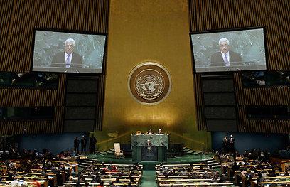 אבו מאזן נואם בכינוס העצרת הכללית בספטמבר. להצעה מובטח רוב (צילום: AP)