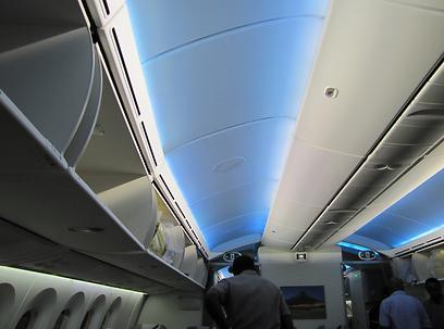 התאורה במטוס בצבעים כחולים וסגולים שמשרים אווירה נינוחה (צילום: דני שדה)