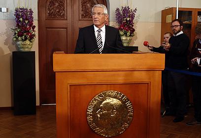 """""""האיחוד תרם לפיוס"""". יו""""ר ועדת הפרס ג'אגלנד, היום  (צילום: AFP)"""
