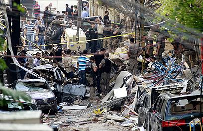 אזור הפיצוץ בביירות (צילום: AFP)