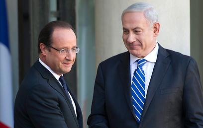 ראש הממשלה נתניהו עם נשיא צרפת הולנד (צילום: EPA)