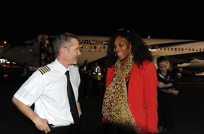 התקבלה בחמימות על ידי צוות המטוס. סרינה וויליאמס (צילום: יאיר שגיא)