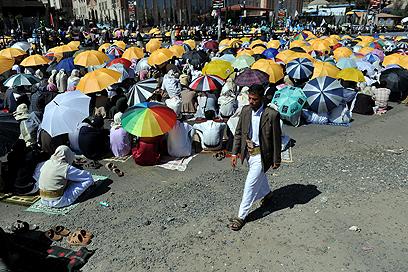 הפגנה נגד המבצע בתימן (צילום: EPA)