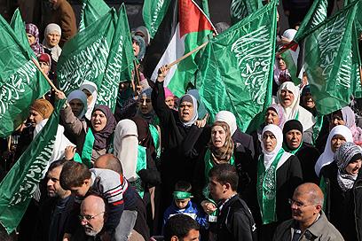 הפגנה נגד ישראל ברמאללה (צילום: AFP)
