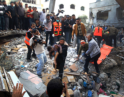 ארבעה ילדים נהרגו בתקיפה. עזה, היום (צילום: AFP)