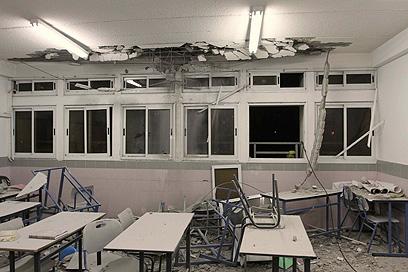 פגיעה ישירה בכיתה (צילום: עידו ארז)