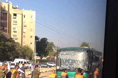 Bus hit by rocket fire in Beer Sheva