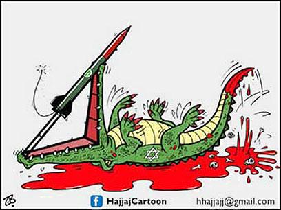 """התנין הישראלי בביצה של דם. מתוך """"אל-קודס"""""""
