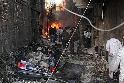 זירת פיגוע תופת בדמשק (צילום: AFP)