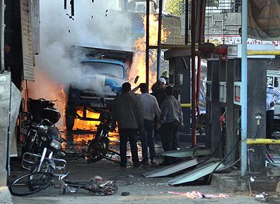 זירת הפיגוע בדמשק (צילום: AP)