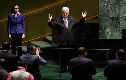 """קבלת הפנים החמה של אבו-מאזן באו""""ם (צילום: AP)"""