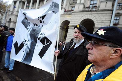 הפגנה נגד אנטישמיות בבודפשט (צילום: AFP)