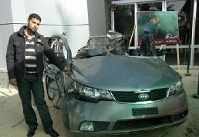 שרידי מכונית הקיה של ג'עברי