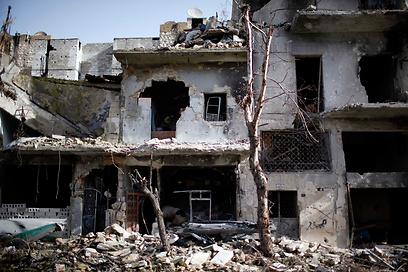 נזקי הפצצה של חיל האוויר הסורי, השבוע (צילום: רויטרס)