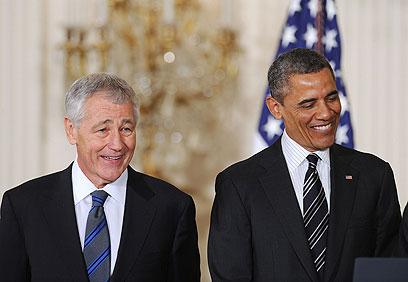 מחזיקים באותה עמדה לגבי איראן. אובמה והייגל (צילום: MCT)