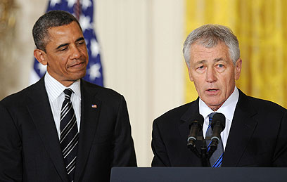 Obama with Hagel on Monday (Photo: MCT)