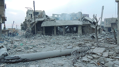 ההרס בבסיס, אחרי לחימה של חודשים (צילום: רויטרס)