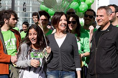 אנשי מרצ בתל אביב (צילום: עופר עמרם)