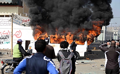 אש בפורט סעיד (צילום: AFP)