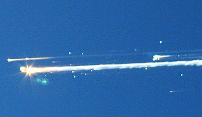 המעבורת התפרקה מעל שמי טקסס. 1 בפברואר 2003 (צילום: AP)