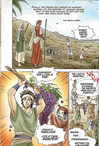"""הקומיקס התנ""""כי. השליחים לכנען חוזרים למשה (צילום: שגרירות ישראל בטוקיו)"""