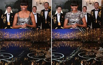 אובמה על המסך (משמאל), ובתמונה שהופצה באיראן (צילום: AFP, פארס)
