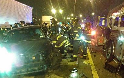 זירת התאונה (צילום: באדיבות קבוצת נייעס בווטסאפ )