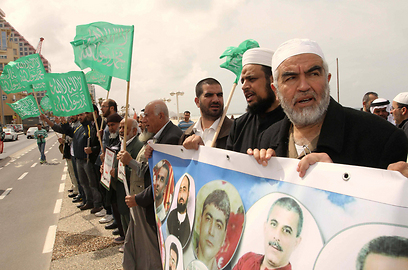 הביע תמיכה בעצירים המנהליים. שייח סלאח בהפגנה (צילום: עידו ארז)