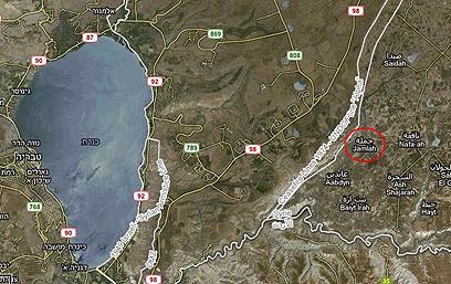מיקום הכפר ג'מלה (צילום: Google Maps)