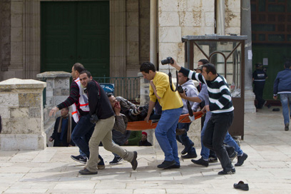 עימותים קשים בשבוע שעבר בהר הבית (צילום: AFP)