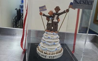 העוגה המיוחדת, עם הדמויות של שני הנשיאים (צילום: נועם (דבול) דביר)