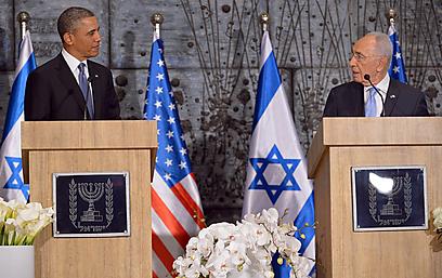 הצהרות מדיניות אחרי הפגישה. פרס ואובמה (צילום: AFP)