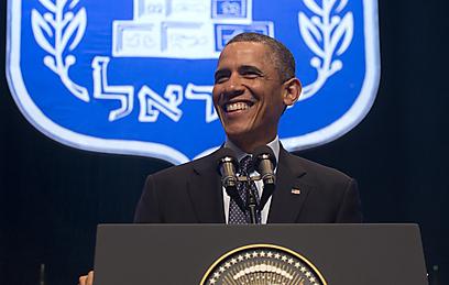 """אובמה. לא התבלבל גם בקריאת הביניים: """"זה הדיון הער"""" (צילום: AFP)"""