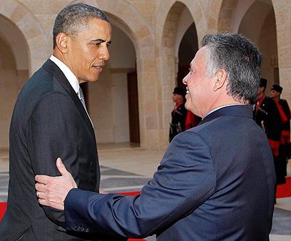 המלך עבדאללה והנשיא אובמה, בחודש שעבר בירדן (צילום: EPA)