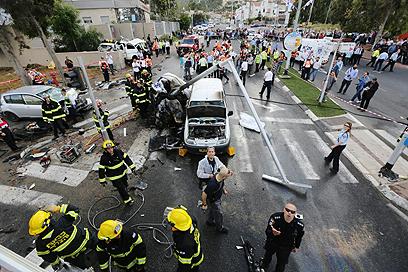 הרמזור שבו נפגעו שמונת כלי הרכב (צילום: חגי אהרון)