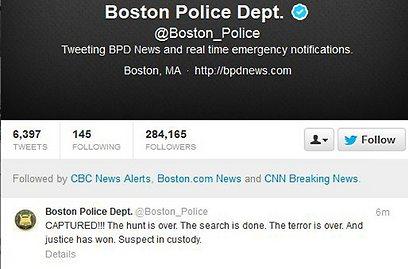 """""""נתפס!!!"""". הודעת משטרת בוסטון באינטרנט (צילום: רויטרס)"""