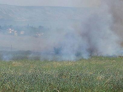 השריפה צפונית לכנרת (צילום: דוברות כבאות גליל עליון)