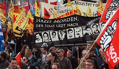הפגנה נגד ניאו נאצים במינכן, החודש (צילום: Gettyimages)